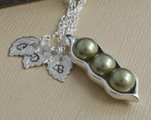 pea pod necklace, 3 peas in a pod, sterling silver, pearl birthstone, personalized gift, initial necklace, gift for mom, grandma gift, CP01
