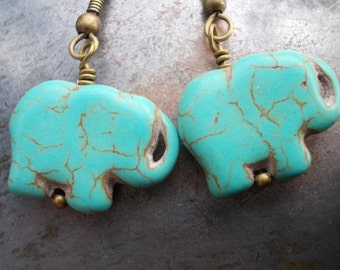 Turquoise elephant earrings simple brass turquoise blue dangle earrings howlite rustic Africa style ethnic tribal animal organic men women
