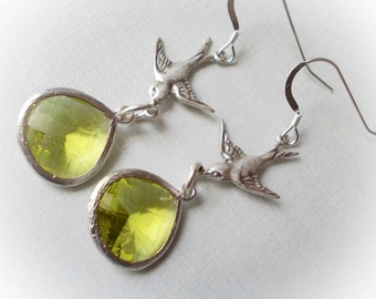 Swallow Flight long bird dangle earrings vintage finish antique silver Victorian steampunk peridot green drop teardrop jewel faceted gem