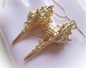 Seashell drop earrings in gold lace murex shell snail ocean sea dangle gold plated earrings for women organic boho nautical marine beach