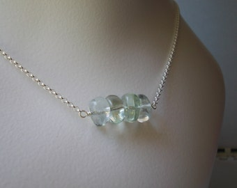 Prasiolite Necklace Green Amethyst Choker Necklace sterling silver 925 natural gemstone semi precious stone Vermarine green quartz handmade