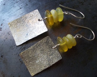 Yellow Opal Earrings sterling silver natural gemstone bead stone earrings 925 handmade earrings dangle organic opal hammered textured forged
