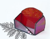 SALE- Stained Glass Business Card Holder - Radiant Red