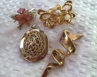 3 Vintage Goldtone Pins and One Oval Locket