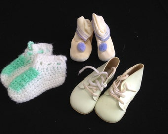 Three Pair of Vintage Hand Crochet Baby Booties and White Shoes