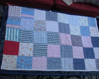 Vintage Hand Quilted Feed Sack Fabric Patchwork Cutter Quilt Piece
