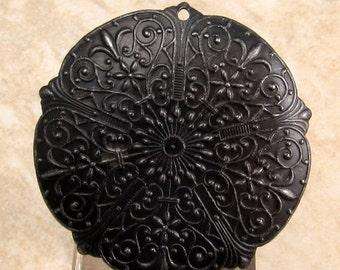 Black Embossed Pendant, Vintaj Arte Metal, Rhapsody Romance, 35 MM, V78