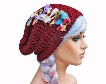 Slouch Beanie Maroon with Shabby Textiles - Festival Beanie Hat