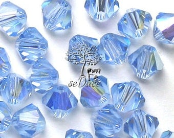 Clearance 100 pcs Swarovski Crystal 5301/5328 4mm Crystal Light Sapphire AB Bicone Beads Wholesale