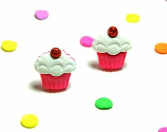 Pink Cupcake Studs, Earrings, Kawaii Kitsch, Cherry on Top, Food Jewelry
