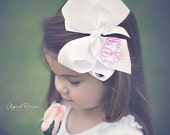 """Bow White Large Hairbow Monogrammed Classic Boutique Grosgrain 6"""" Hair Bow"""