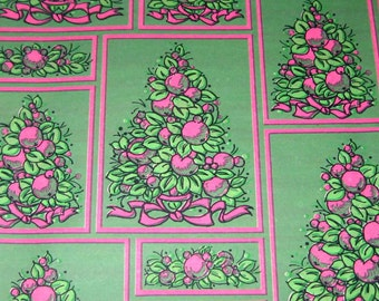 Vintage Christmas Tissue Wrapping Paper or Gift Wrap with Christmas Trees and Fruit