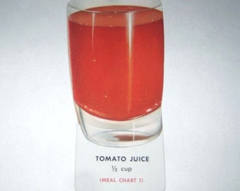 Vintage Food or Nutrition Die Cut Cardboard School Decoration of a Glass of Tomato Juice