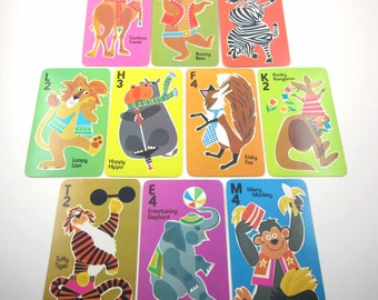 Vintage 1980s Over Sized Animal Rummy Character Children's Playing Cards Set of 10