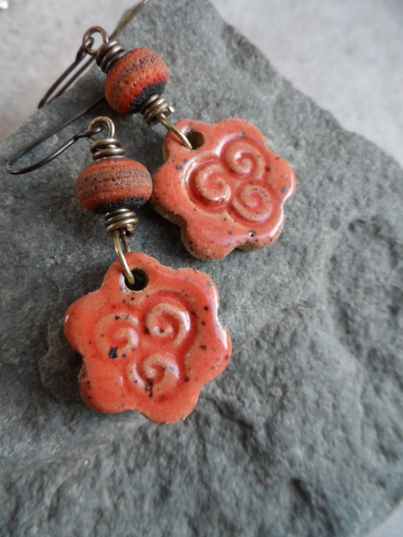 Orange Swirlies ... Ceramic, Lampwork and Brass Earrings