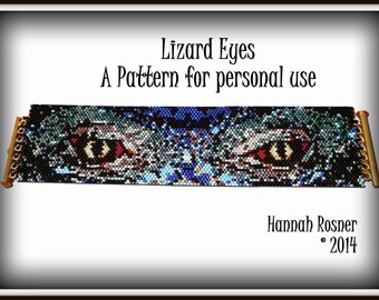 Bead Pattern Lizard Eyes Bracelet - Peyote Stitch TUTORIAL INSTRUCTIONS - Hannah Rosner