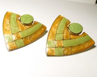 Yellow & Neon green Shield Earrings