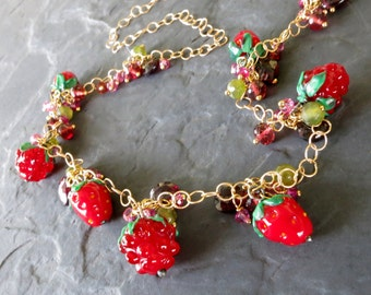 Garnet and lampwork glass bead necklace 14k gold fill bubble chain - strawberry beads - raspberry bramble - offbeat bride