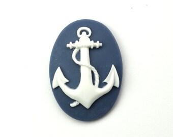 Plastic Cameos Anchor Nautical 25x18mm Blue / White (4) IC096