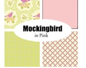 Custom Crib Bedding-Pink Mockingbird