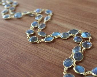 FLAWLESS Labradorite bezeled stone Necklace- Gold Filled