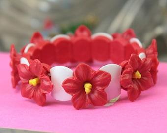 Red Orchid Flower Bracelet childrens jewelry fashion jewelry kids jewelry childrens bracelet red flower bracelet- 203-4-1201-BR