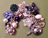 """Valentines Day Sale Vintage Charm Bracelet """"Blue Luxe"""" Assemblage Upcycled Repurposed deconstructed"""