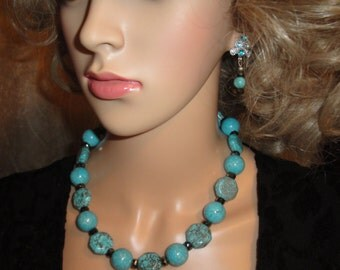 Necklace and Pierced Earring Set, Turquoise, Magnestite and Czech Fire Polished Crystal beaded necklace and rhinestone top pierced earrings