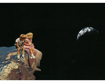 NEW - projection / the distance between hope and nostalgia 8.5X11 collage art giclee archival print by livingferal