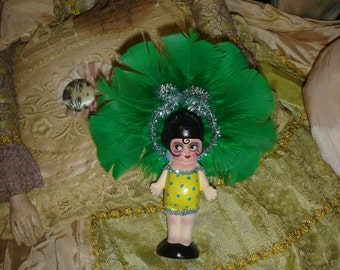 Vintage Bisque Kewpie Doll Mini Carnival Prize Showgirl Green Repaint