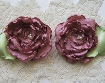 Rose Shoe Clips Handmade Fabric Rose, Satin, Pearls