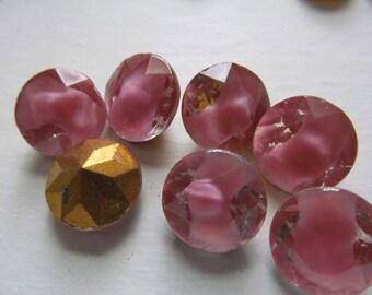 Vintage Glass Rhinestones (4) Pink