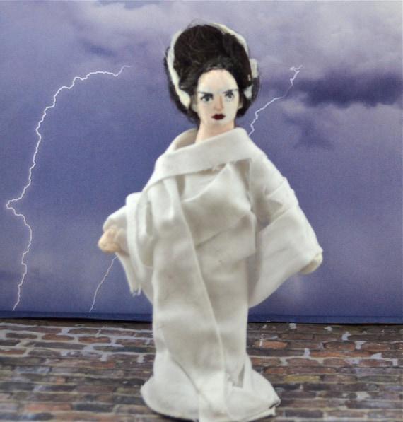 Bride of Frankenstein Gothic Doll Miniature Art Collectible