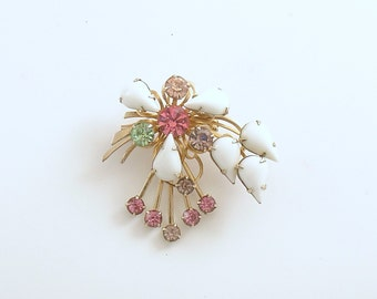 Vintage Brooch Milk Glass Pastel Rhinestone Crystals Costume Jewelry Mid Century Pin