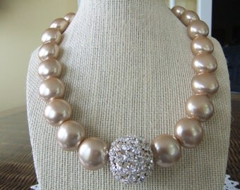 Dyed Gold Pearls with Large Rhinestone Bead in Center
