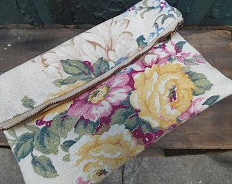 SALE Floral clutch foldover, iPad case, lg utility bag - 1930s cotton - eco vintage fabric