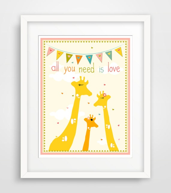 Wall Decor All You Need Is Love : Children s wall art nursery decor all you need is love