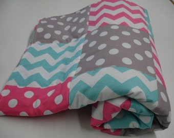 Chevrons and Dots in Aqua Hot Pink and Gray Minky Blanket You Choose Size MADE TO ORDER No Batting
