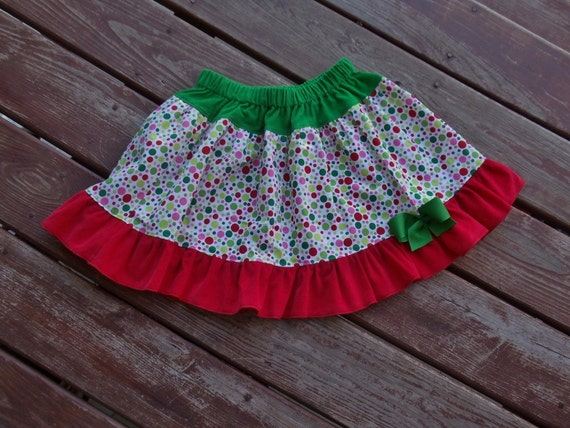 "Christams ""WHIMSICAL TREES""- Girls Custom short knee length skirt in sizes 12-18-24 mth 2T, 3, 4, 5, 6, 7, 8"