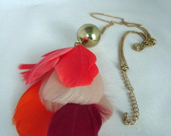 Gold/Brassmetal Ball, Feathers - Pendant - Long  Chain necklace - Red, Orange, White,Purple, Crimson Feather