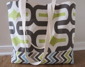 Large Beach Bag - Embrace in Chartreuse & Chocolate Chevron Beach Tote - Water Resistant Lining - Interior Pocket