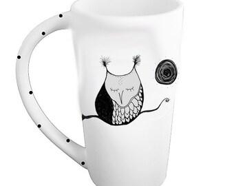 Napping owl mug kiln fired pottery coffee latte tea bistro mug made to order