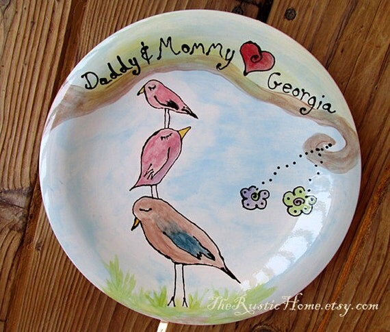 Custom family tree bird plate kiln fired pottery gift keepsake first baby baby shower mom dad adoption gift wedding gift personalized plate