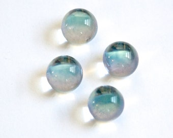 Czech Crystal Helio Blue Clear Glass Ball Cabochon With Foil 10mm (4) cab357B