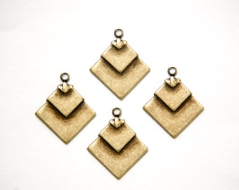 1 Loop Brass Ox Deco Layered Square Connector Pendants (6) mtl407D