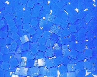 Mini Cornflower Blue Tumbled Stained Glass Mosaic Tiles