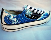 Hand Painted Converse Shoes - The Great Wave Off Kanagawa - Low Tops