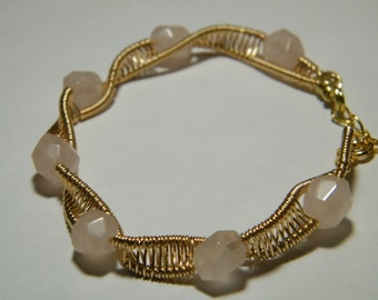 Woven wire wrapped twist bracelet with Rose Quartz