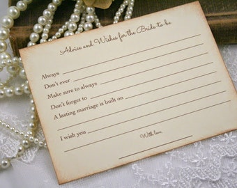 Advice and Wishes Cards Bridal Shower Bride to Be Wishes Set of 10