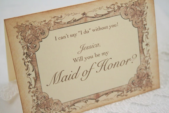 Will You Be My Maid of Honor Card Wedding Note Card